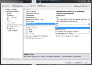 Setting the Platform Toolset in Visual Studio 2010