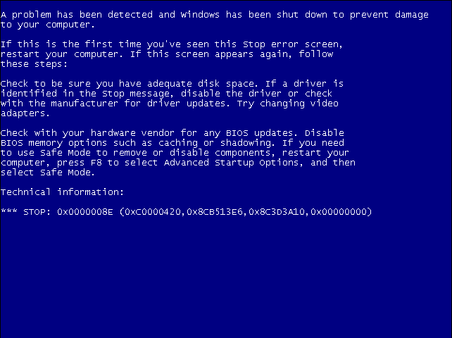 machine check exception bsod