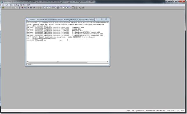 Default WinDbg Workspace